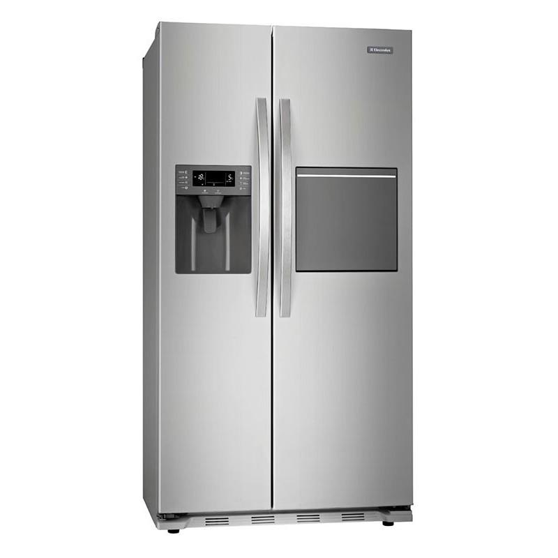 Refrigerador acero side by side 545L desayunador y dispensador Electrolux
