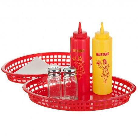 Bandejas ovales con botella para salsa y mostaza, salero y pimentero 7 piezas Tablecraft