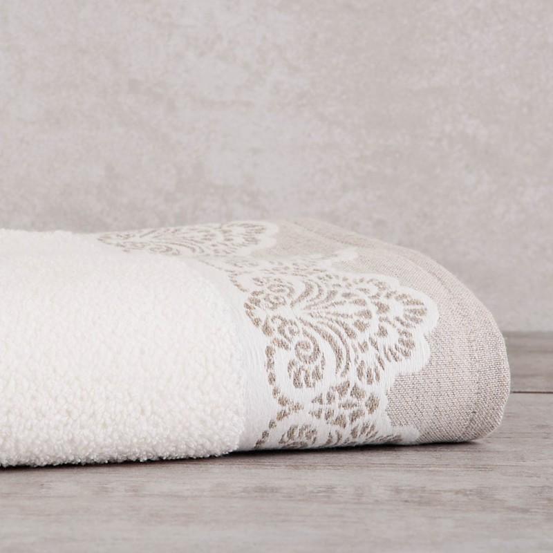 Toalla de baño Beige Borde Arabesco 140x70 cm 100% algodón Sousa Dias