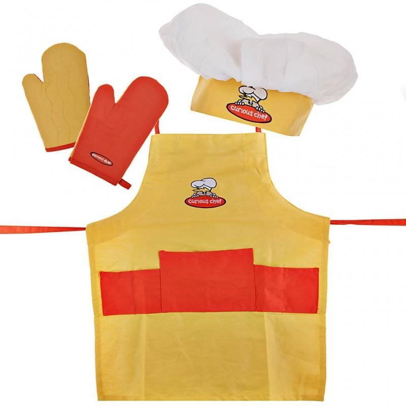 Delantal, gorro y guantes para niño Curious Chef