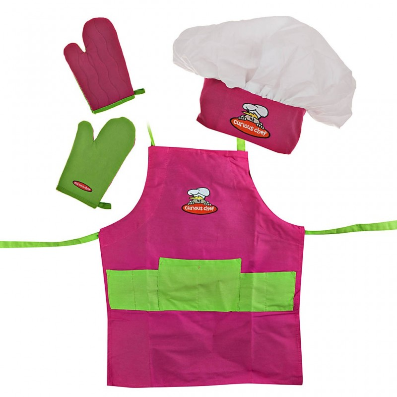 Delantal, gorro y guantes para niña Rosado / Verde Curious Chef