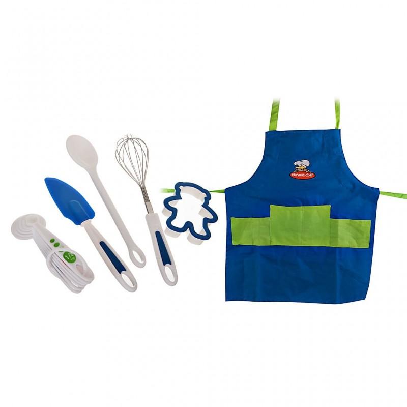 Delantal con utensilios de repostería 11 piezas Curious Chef