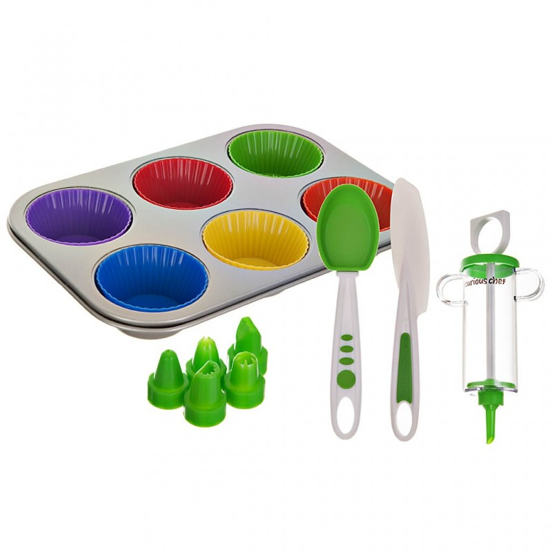 Juego de 16 piezas moldes para cupcakes y utensilios de repostería Curious Chef