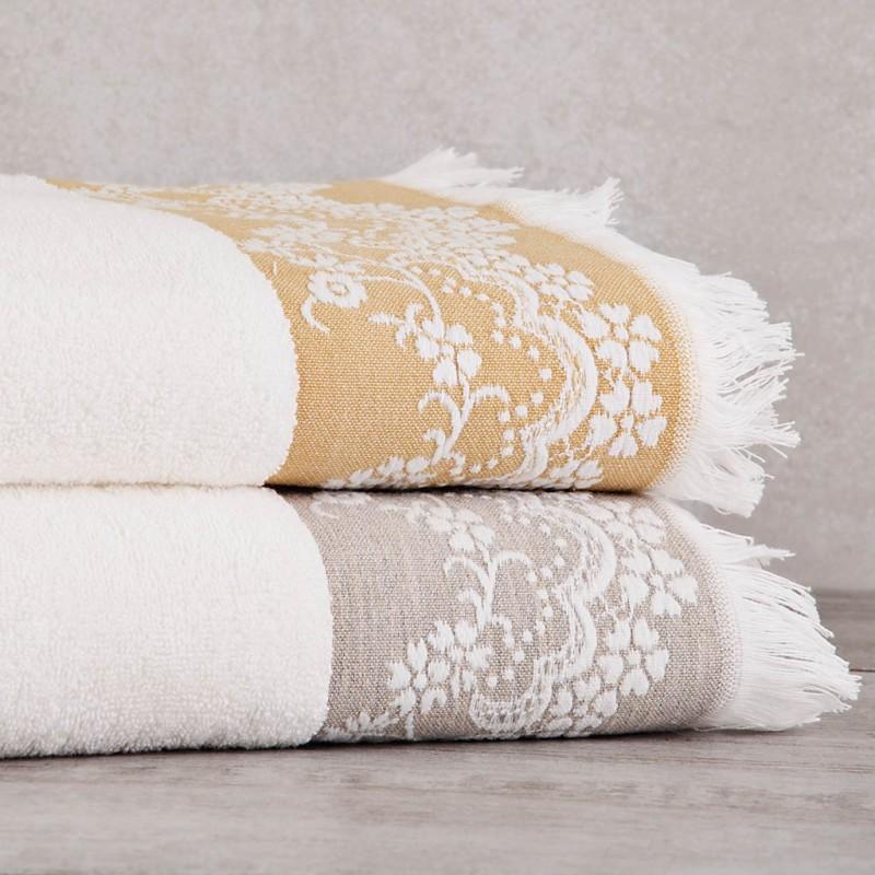 Toalla de baño Borde Arabesco con flecos 140x70 cm 100% algodón Sousa Dias