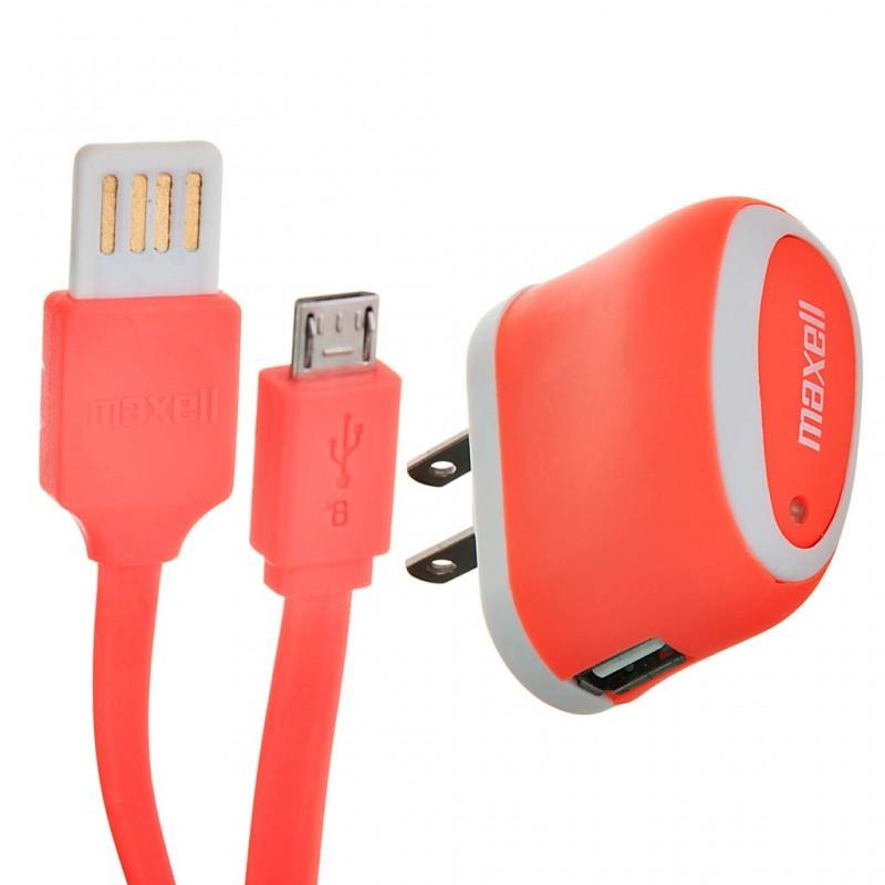 Cargador con cable plano micro USB MUSB-600 Naranja Maxell