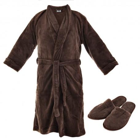 Bata de baño con zapatillas Microplush 100% poliéster Chocolate Haus