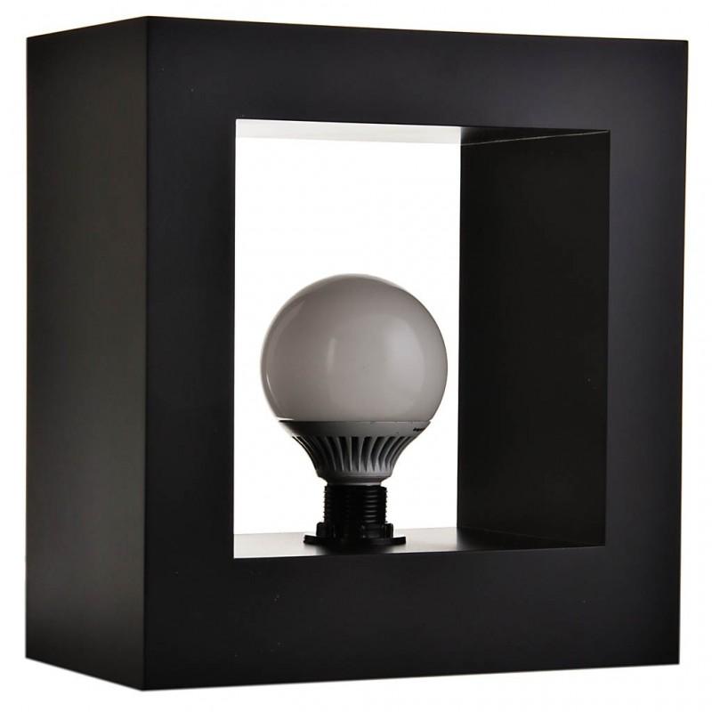 Lámpara de mesa con base cuadrada y foco