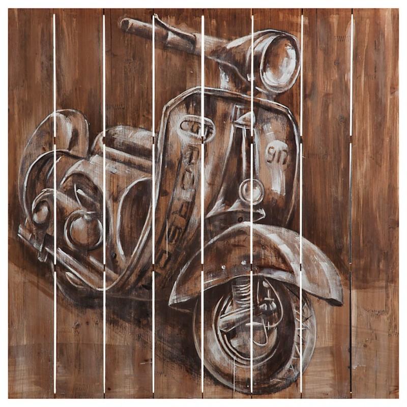 Cuadro de madera Vespa Blanco / Café 80 x 80 cm