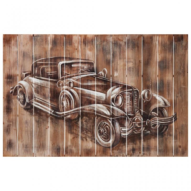 Cuadro de madera Auto Clásico Blanco / Café 80 x 120 cm