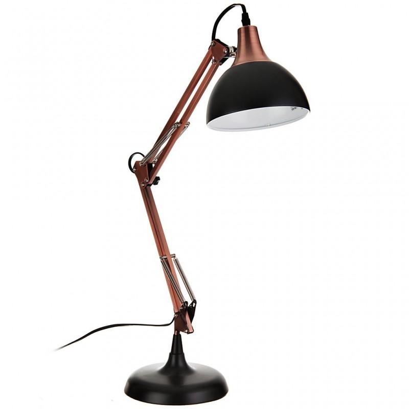 Lámpara de mesa ajustable con pantalla redonda