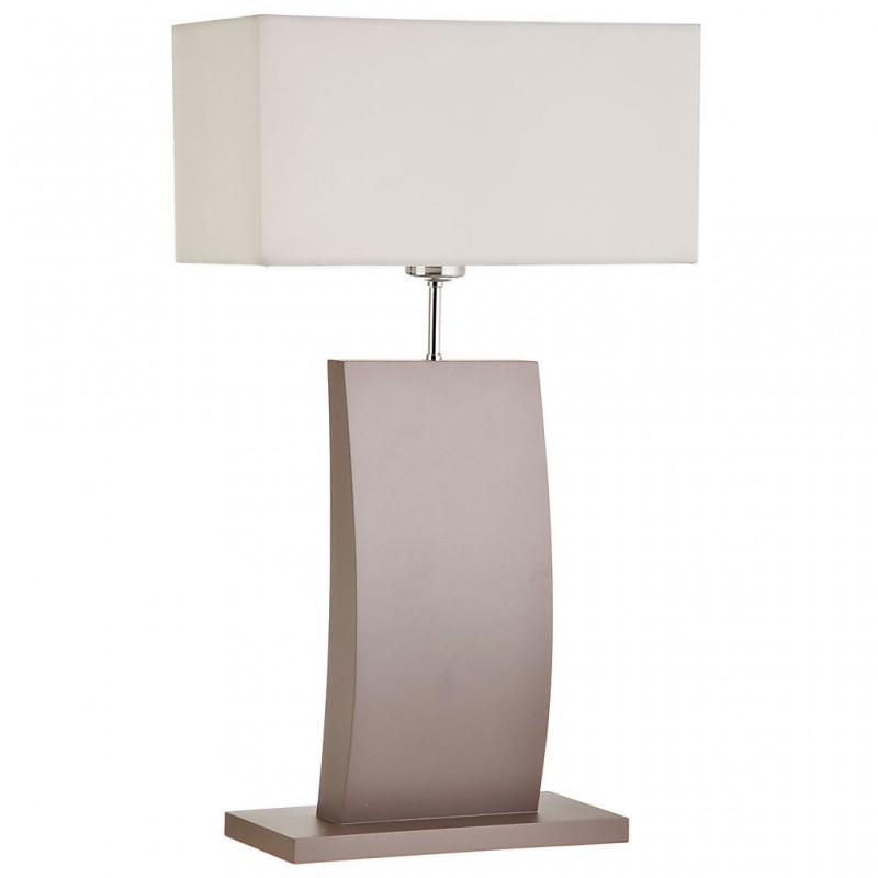 Lámpara de mesa con base rectangular champagne y pantalla rectangular beige