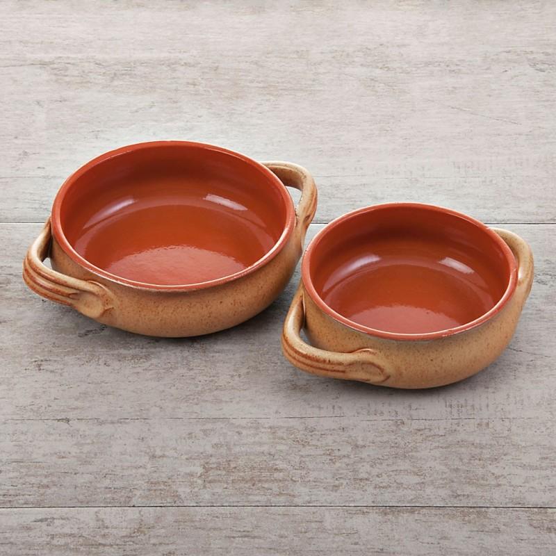 Cacerola de cerámica vitrificada con 2 asas Bombata Tabacco Natural De Silva Ceramiche