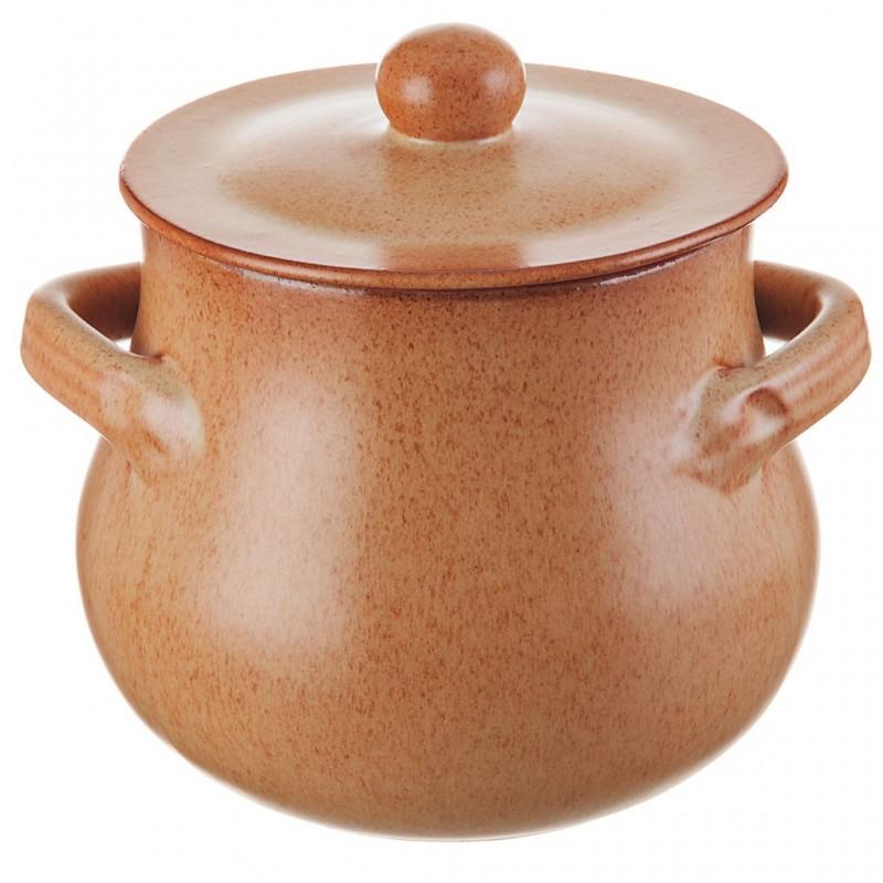 Olla con tapa de cerámica vitrificada Bombe Tabacco De Silva Ceramiche