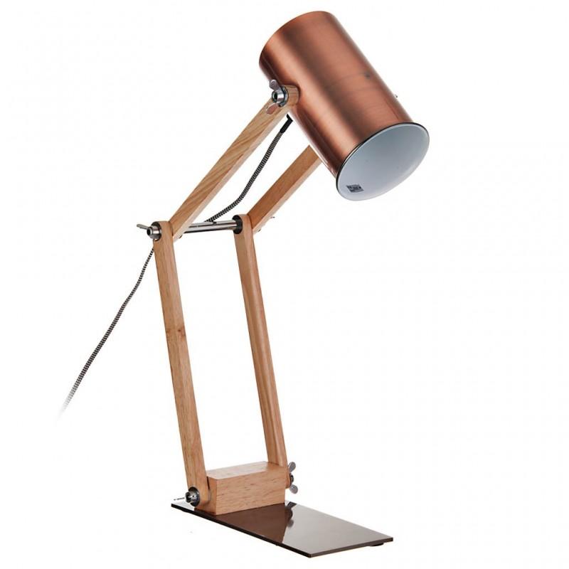 Lámpara de mesa ajustable natural con pantalla cilíndrica
