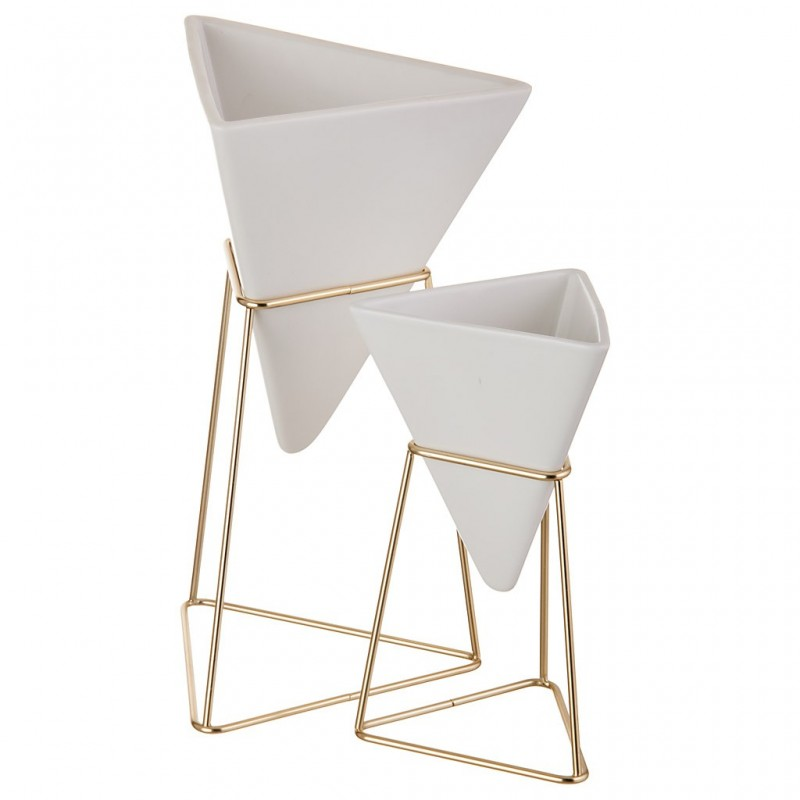 Juego de 2 recipientes piramidal para escritorio Umbra
