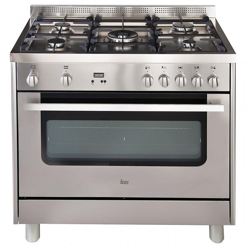 Cocina a gas 5 quemadores Grill, Reloj digital, 5 niveles cocción horno FS2R 965GX Teka