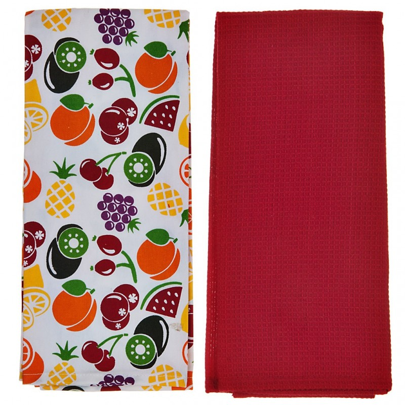 Juego de 2 toallas Frutas 100% algodón Haus