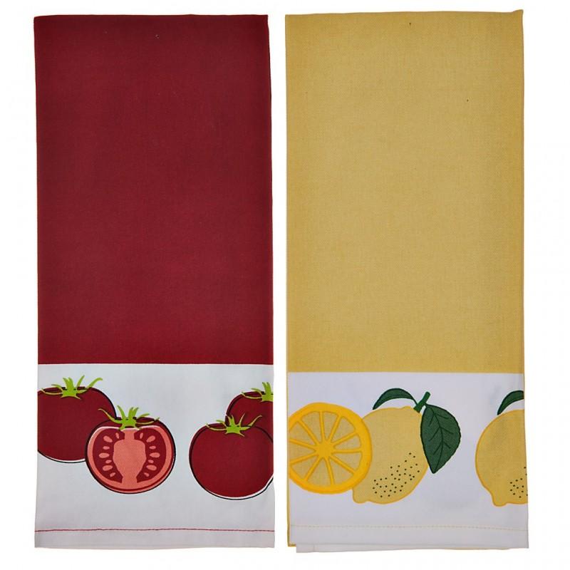 Juego de 2 toallas Limón / Tomate 100% algodón Haus