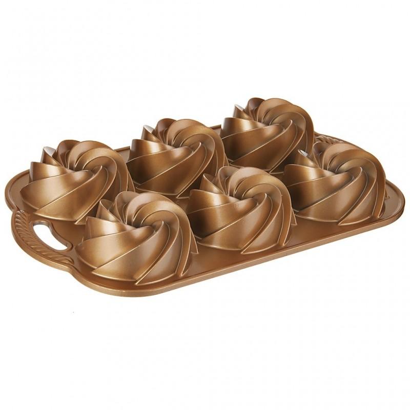 Molde cono Mini Rosetas Dorado 6 servicios Nordic Ware