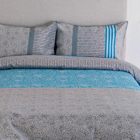 Juego de duvet Makua Azul con Gris 70% algodón - 30% poliéster