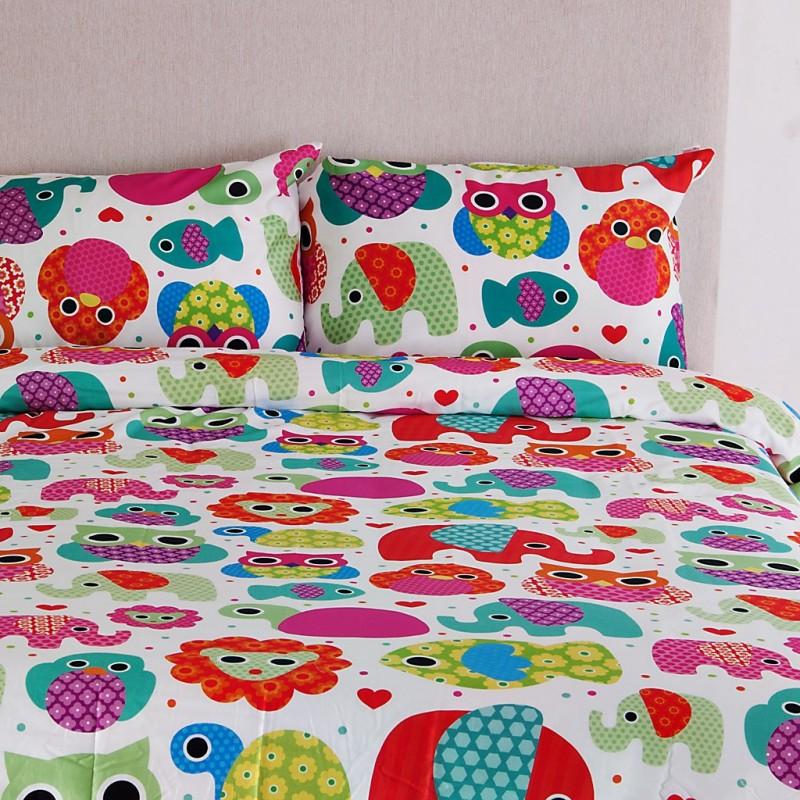 Juego de duvet Happy Zoo Multicolor 250 hilos 100% algodón Ocean Blue