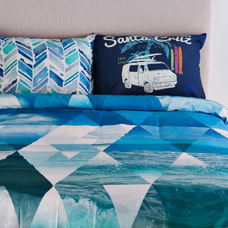 Juego de duvet Surf 250 hilos 100% algodón Ocean Blue