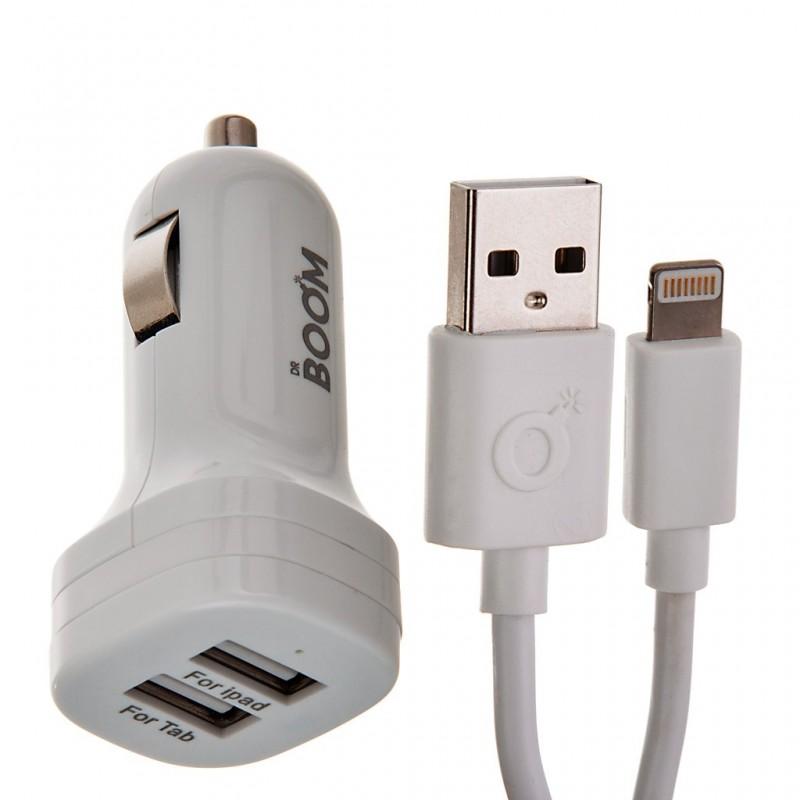 Cargador para auto con cable 2 puertos USB Blanco