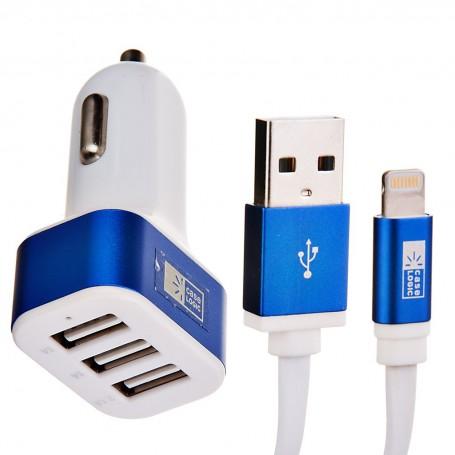 Cargador para auto 3 puertos USB con cable Lightning Case Logic