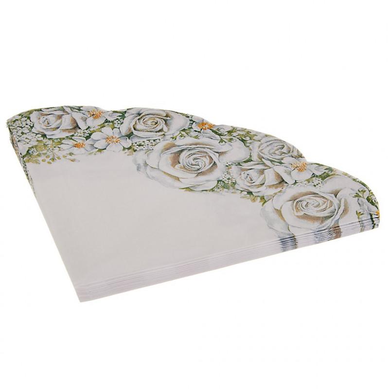 Juego de 12 servilletas abanico Romantic Roses