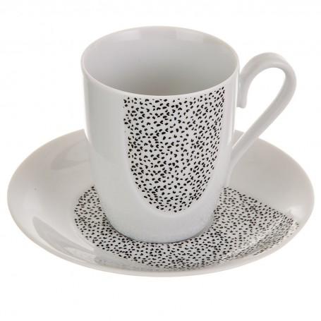 Juego de taza y plato Puntos Gris Ćmielów