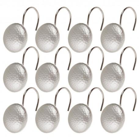 Juego de 12 ganchos para cortina de baño Martillado Silver
