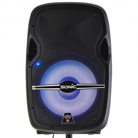"""Parlante para fiesta con Bluetooth, USB, soporte y micrófono 50.000W 15"""" Sonic"""