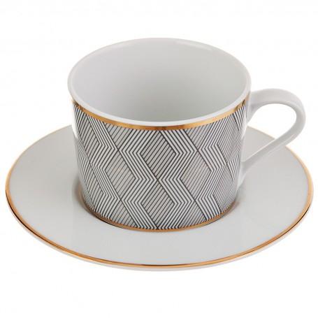 Juego de taza y plato para té Manhattan Spal
