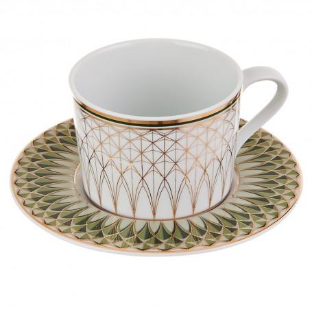 Juego de taza y plato para té Oliva Spal