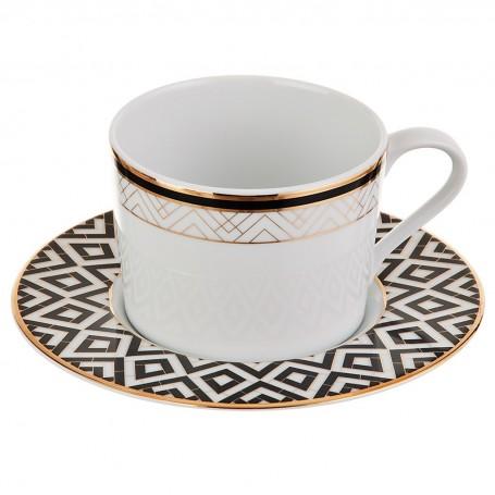 Juego de taza y plato para té Art-Deco Spal