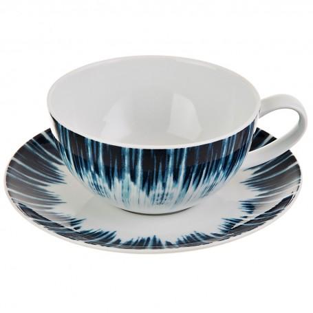 Juego de taza y plato para té Shibori Spal