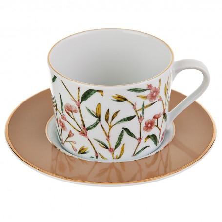 Juego de taza y plato para té Flores Amber Spal