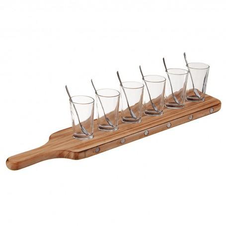Juego de 13 piezas vasos para postre con cucharas y base Novo
