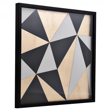 Cuadro Geométrico Dorado / Negro / Blanco