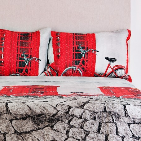 Juego de cubrecama Quilt Bicicleta Londres Haus