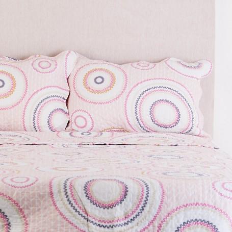 Juego de cubrecama Quilt Círculos Light Pink Haus