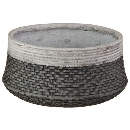 Macetero con base plana Textura Rattan Cemento Haus