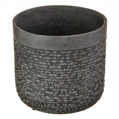 Macetero Textura Rattan Cemento Gris Haus