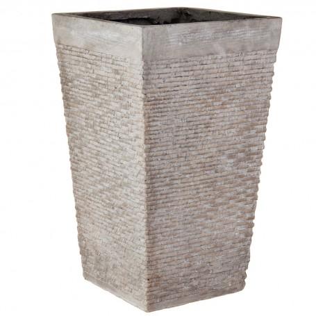 Macetero cuadrado Textura Rattan Cemento Gris Haus