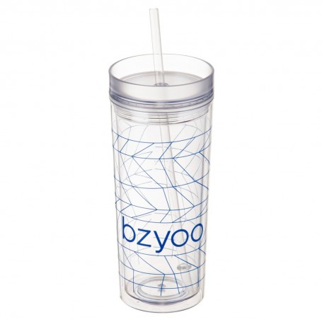 Vaso con sorbete Clear Rayas Upp-Spidy Bzyoo