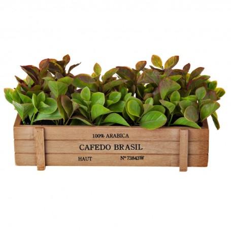 Planta artificial con maceta rectangular Hojas Verdes Haus