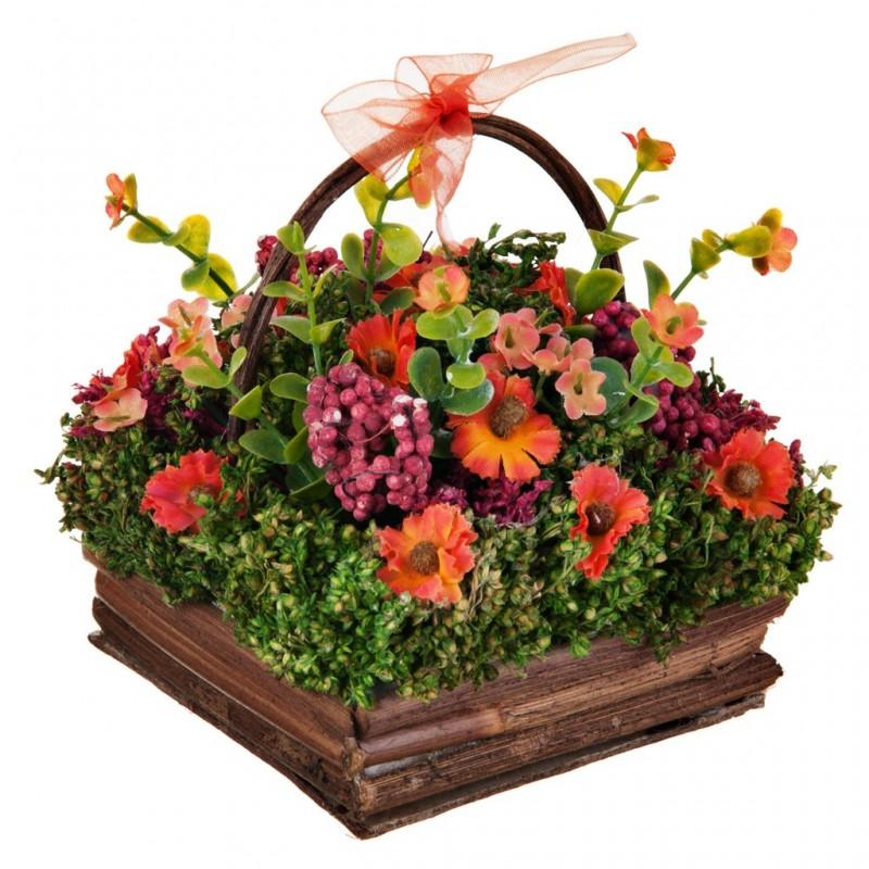 Arreglo floral pequeño con canasta Flores