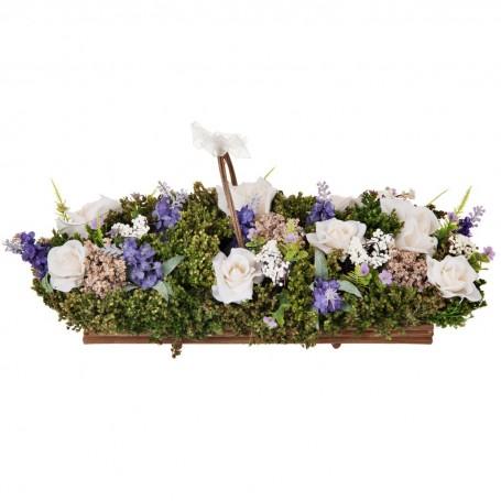 Arreglo floral con base natural Rosas y Lavanda