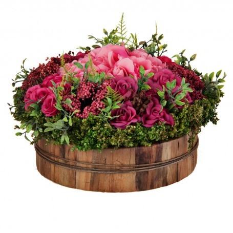 Arreglo floral con maceta Rosas