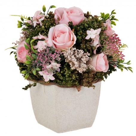 Arreglo floral con maceta cuadrada Rosas Rosado